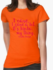 Leslie Cares. A lot. Womens Fitted T-Shirt