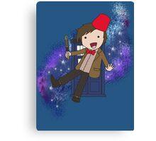 Cartoon 11th Doctor (with Tardis) Canvas Print