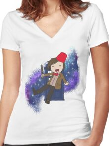 Cartoon 11th Doctor (with Tardis) Women's Fitted V-Neck T-Shirt