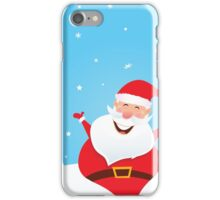Happy Santa Claus with falling snow and trees iPhone Case/Skin