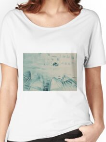 Colorful watercolor painting with boats on the bay Women's Relaxed Fit T-Shirt