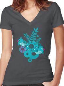 Folk birds Women's Fitted V-Neck T-Shirt
