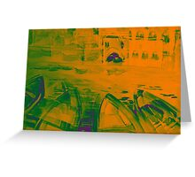 Colorful watercolor painting with boats on the bay Greeting Card