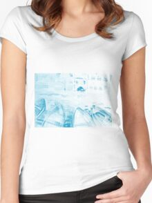 Colorful watercolor painting with boats on the bay Women's Fitted Scoop T-Shirt