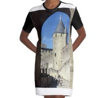 The fortified, old, town of Carcasonne, France Graphic T-Shirt Dress