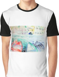 Colorful watercolor painting with boats on the bay Graphic T-Shirt