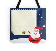 Christmas Santa with blank note Tote Bag