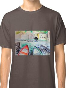Colorful watercolor painting with boats on the bay Classic T-Shirt