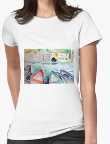 Colorful watercolor painting with boats on the bay Womens Fitted T-Shirt