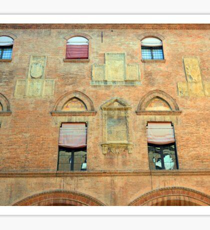 Classical red brick facade from Bologna Sticker