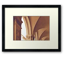 Vintage Gothic arches and columns in Bologna Framed Print