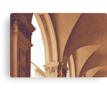 Vintage Gothic arches and columns in Bologna Canvas Print