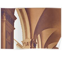 Vintage Gothic arches and columns in Bologna Poster