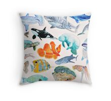 A  Menagerie of Sea Creatures Throw Pillow