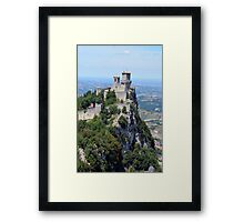 San Marino tower, natural landscape with monument Framed Print