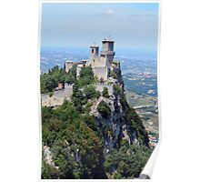 San Marino tower, natural landscape with monument Poster
