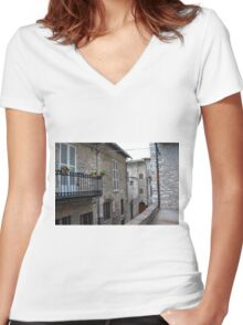 Street from Assisi with stone buildings Women's Fitted V-Neck T-Shirt