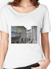 Street from Assisi with stone buildings Women's Relaxed Fit T-Shirt