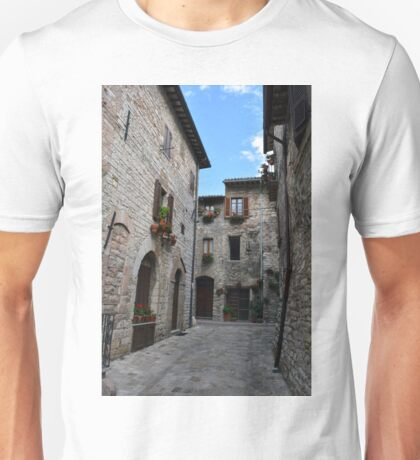 Street from Assisi with stone buildings Unisex T-Shirt