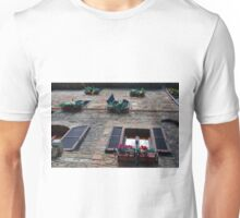 Stone building facade from Assisi with shutter and flowers Unisex T-Shirt