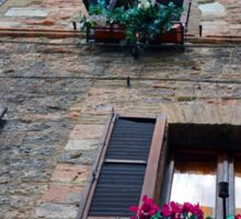 Stone building facade from Assisi with shutter and flowers Sticker