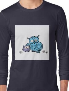 mother owl and owlet,  hand drawing  Long Sleeve T-Shirt