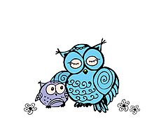mother owl and owlet,  hand drawing  Photographic Print