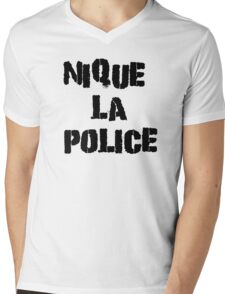 Fuck The Police Classic French Movie Quotes Rap Song Lyrics T-Shirts Mens V-Neck T-Shirt