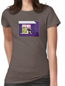 Cat looking through window, christmas tree Womens Fitted T-Shirt