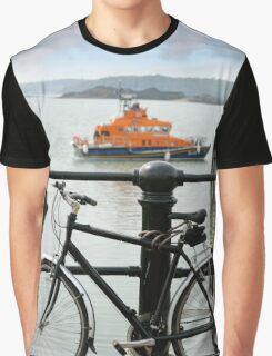 rescue lifeboat in cobh with bicycle Graphic T-Shirt