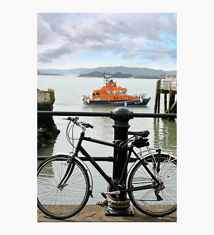 rescue lifeboat in cobh with bicycle Photographic Print