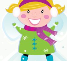 Happy christmas girl in winter nature making angel Sticker