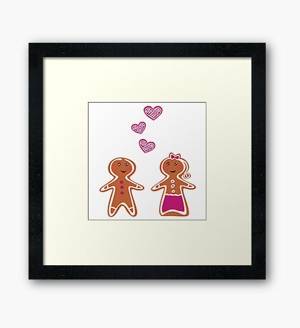 Vector Gingerbread People - Couple isolated on white Framed Print