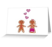 Vector Gingerbread People - Couple isolated on white Greeting Card