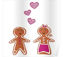 Vector Gingerbread People - Couple isolated on white Poster