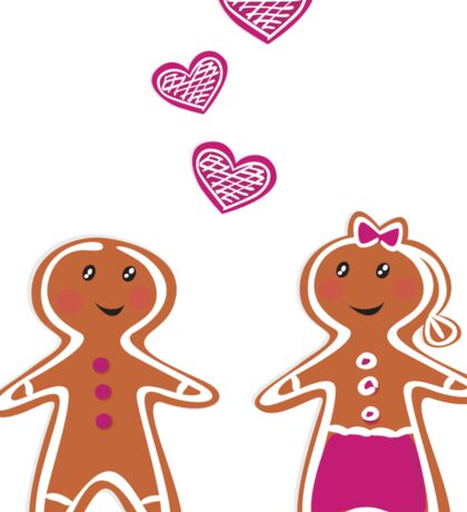Vector Gingerbread People - Couple isolated on white Sticker