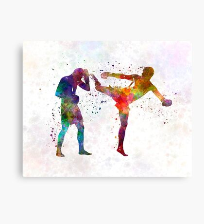 Two men exercising thai boxing silhouette 01 Canvas Print