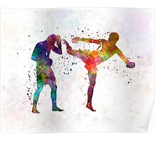 Two men exercising thai boxing silhouette 01 Poster