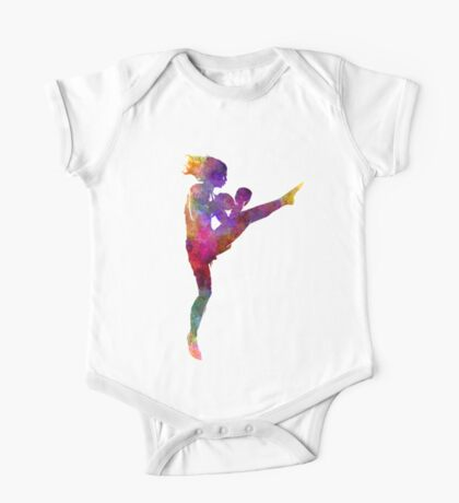 woman boxer boxing kickboxing silhouette isolated 01 One Piece - Short Sleeve