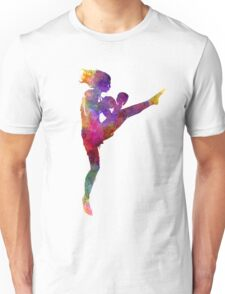 woman boxer boxing kickboxing silhouette isolated 01 Unisex T-Shirt