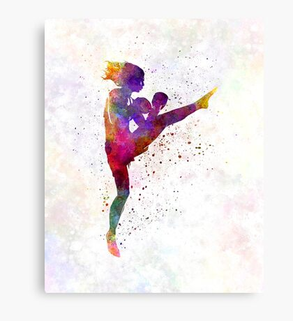 woman boxer boxing kickboxing silhouette isolated 01 Canvas Print