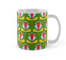 Grüne Retro-Blumen Mug