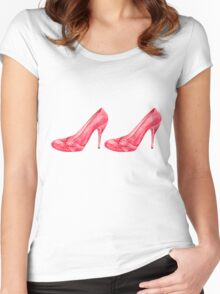 Red high heel women shoes. watercolor Women's Fitted Scoop T-Shirt
