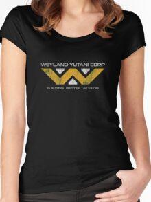 Weyland Yutani - Distressed Yellow/White Variant Women's Fitted Scoop T-Shirt