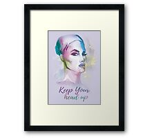Keep your head up! Hand-painted portrait of a woman in watercolor. Framed Print