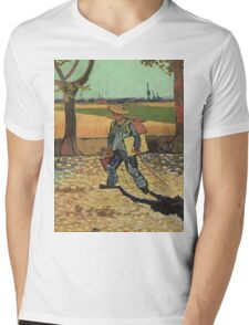 Vincent Van Gogh - Self Portrait On  Road To Tarascon ( Painter On His Way To Work), 1888 Mens V-Neck T-Shirt
