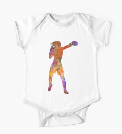 Woman boxer boxing kickboxing silhouette isolated 03 One Piece - Short Sleeve