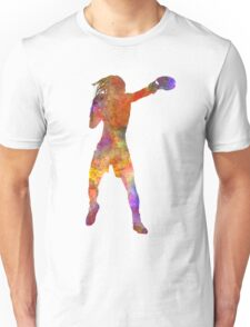 Woman boxer boxing kickboxing silhouette isolated 03 Unisex T-Shirt