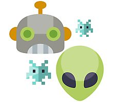 Alien Robot Space Game Icon Photographic Print