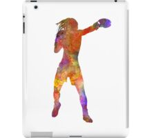 Woman boxer boxing kickboxing silhouette isolated 03 iPad Case/Skin